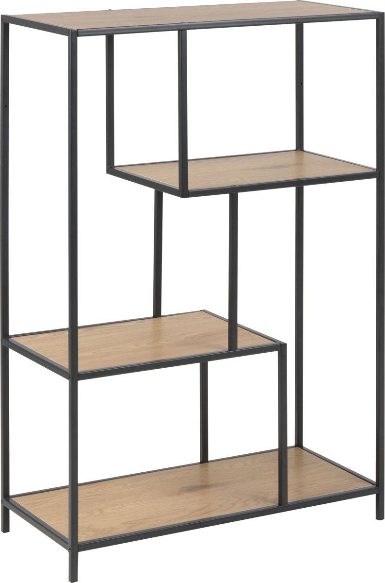 Meubelen-Online Honkytonk Boekenkast asymmetrisch wild eiken - 35x77x114cm - Industrieel