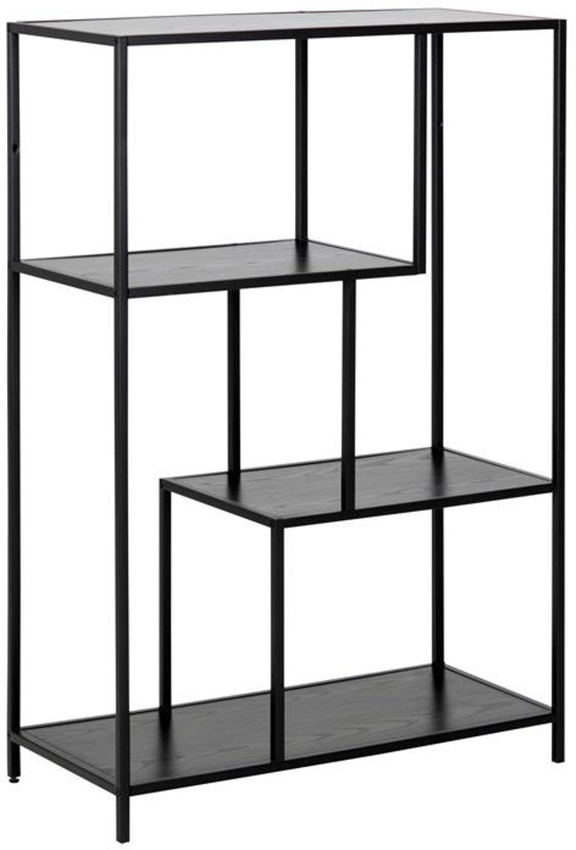 Meubelen-Online Honkytonk Boekenkast asymmetrisch zwart essen - 35x77x114cm - Industrieel