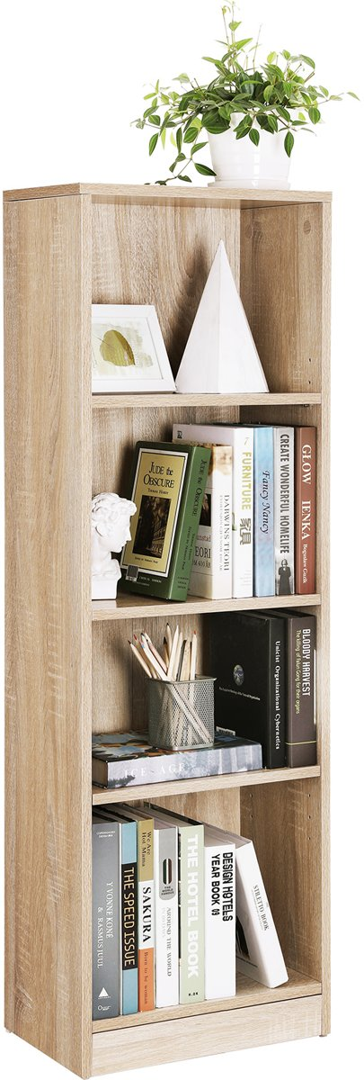| Houten Boekenkast met VERSTELBARE Planken, met 4 Vakken | Boeken Kast | Opbergrek | Boekenrek | Afm. 40 x 24 x 121,5 cm | Kleur: WIT