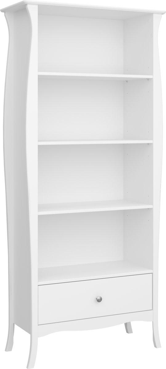 Cher boekenkast met 4 planken en 1 lade in wit.