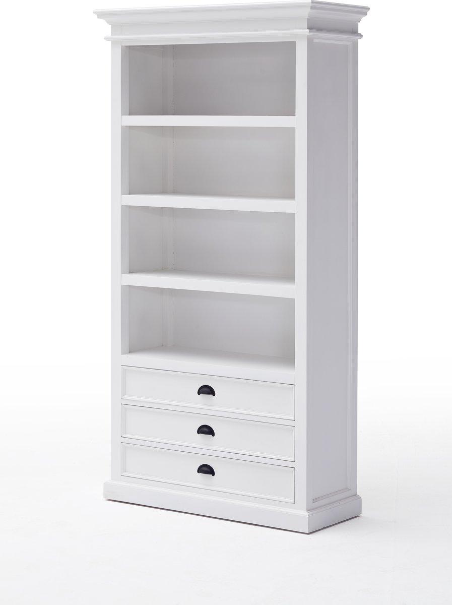 Halifax boekenkast met 3 lades, in wit.