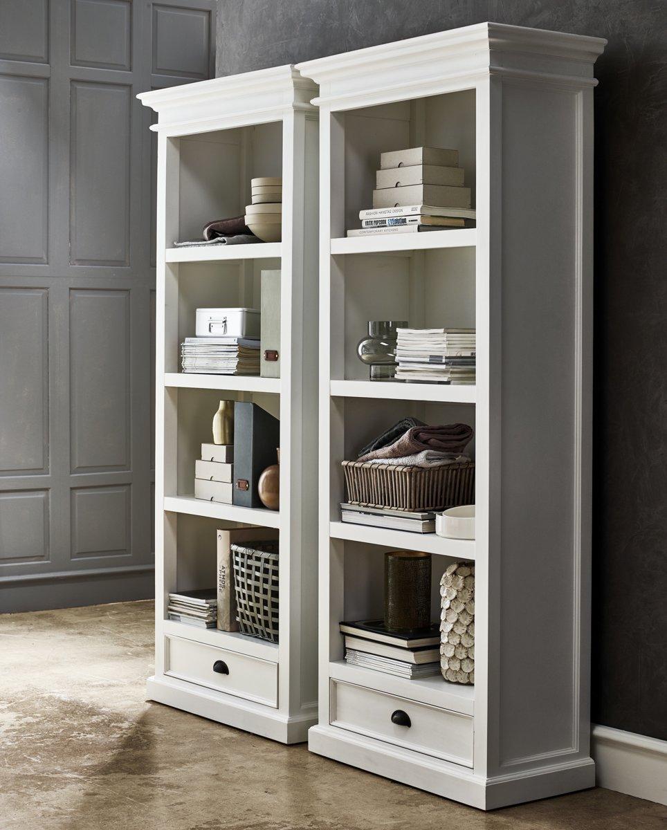 Halifax boekenkast met planken en 1 lade, in wit.