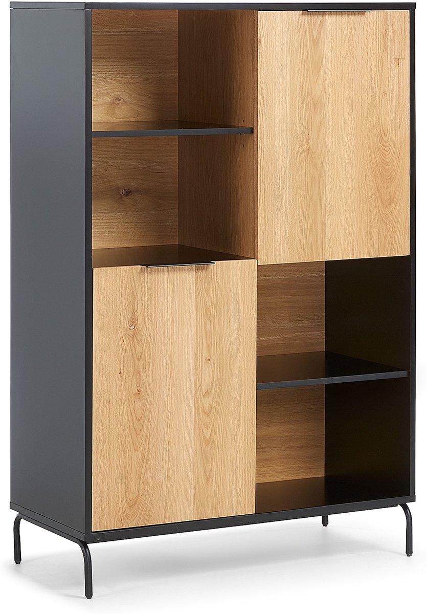 Kave Home - Boekenkast Savoi 100 x 150 cm hout zwart metaal - Zwart, Naturel