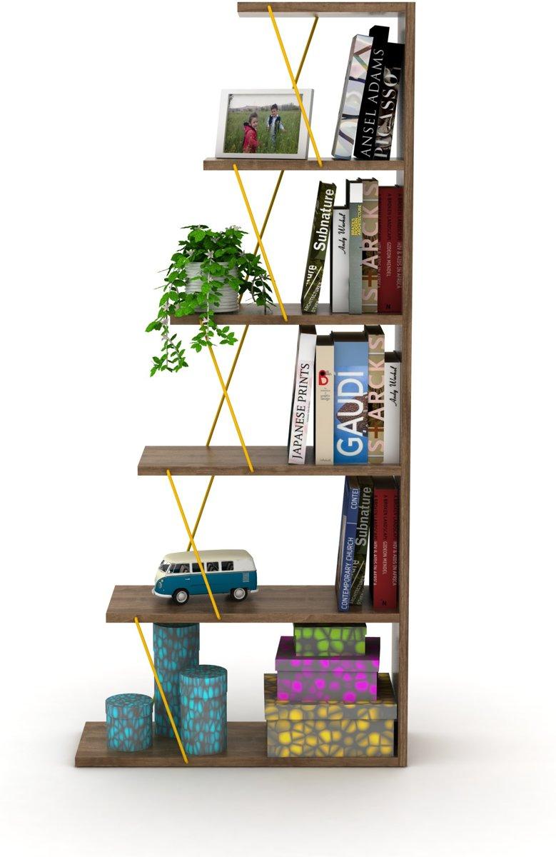 Tars Boekenkast Mini (Okkernoot-Geel)