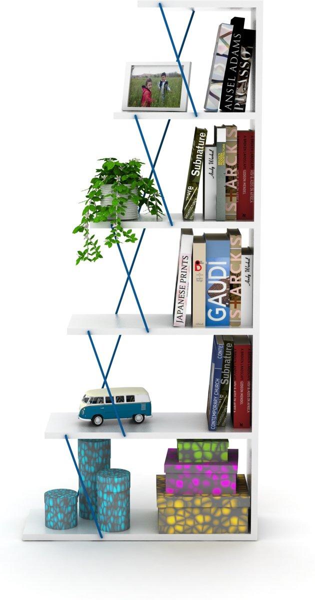 Tars Boekenkast Mini (Wit-Blauw)