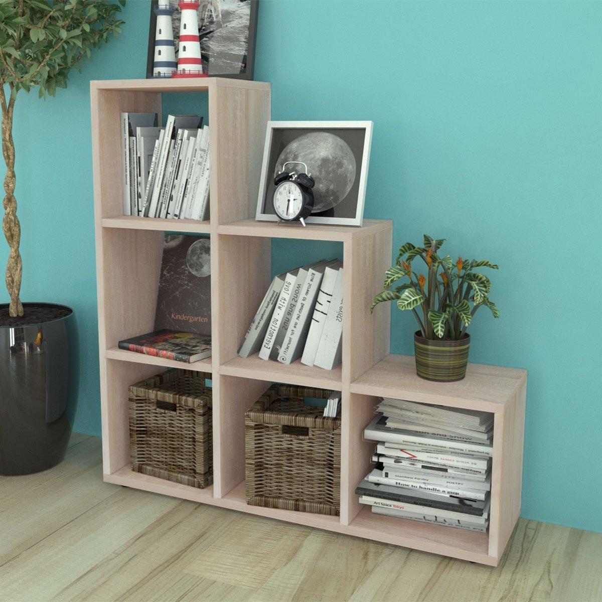Boekenkast/presentatiemeubel trapvormig 107 cm eikenkleur