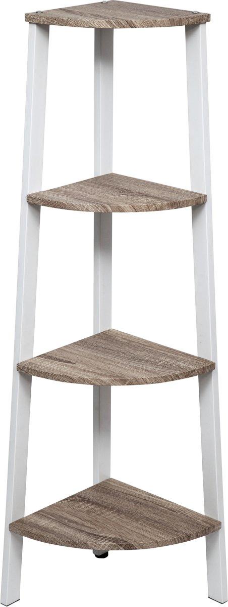 Hoekkast Stoer metaal hout industrieel design boekenkast 125 cm hoog wit