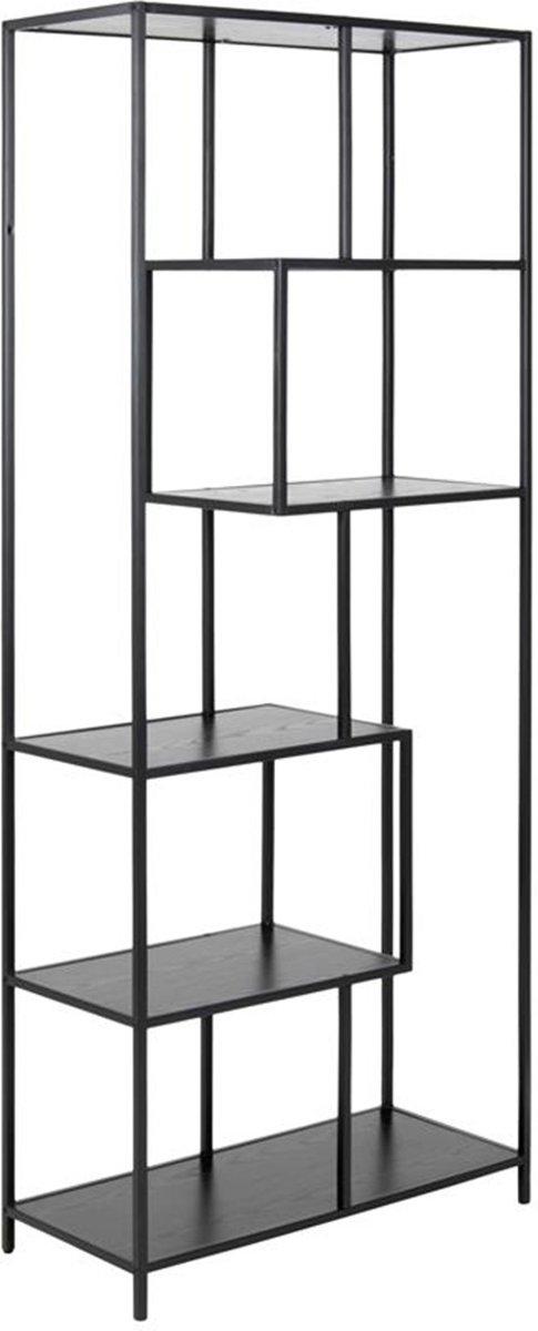 Lisomme industri?le open boekenkast Vic - Eikenhout - 4 planken - Zwart