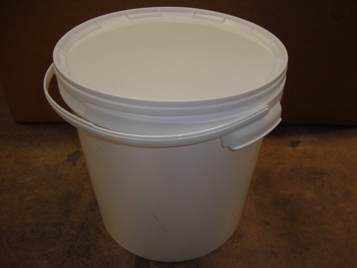 Emmer met deksel / emmers met deksels, wit, 20 liter (3 stuks)