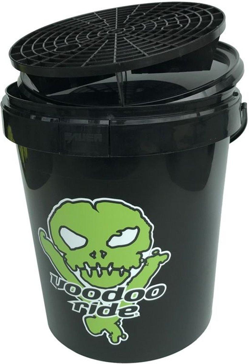 Voodoo Ride Emmer 15L - Zwart + Deksel + Grid + Logo