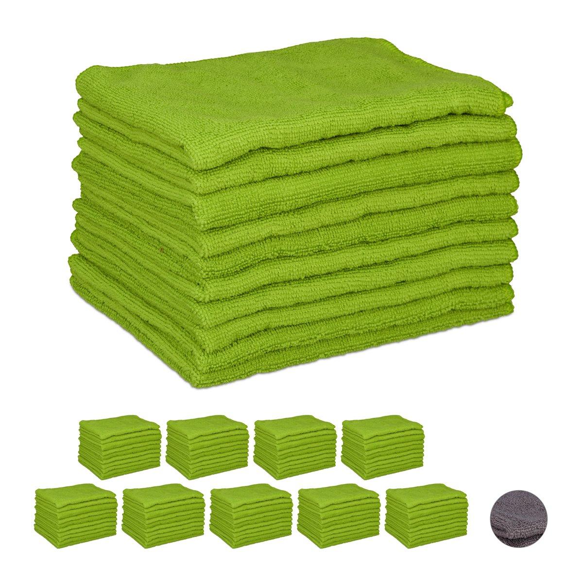 relaxdays 100x microvezeldoek groen - microvezeldoekjes - wonderdoekjes - wasbaar