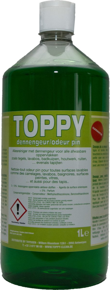 Tapijtreiniger Toppy met Dennengeur 1 L.