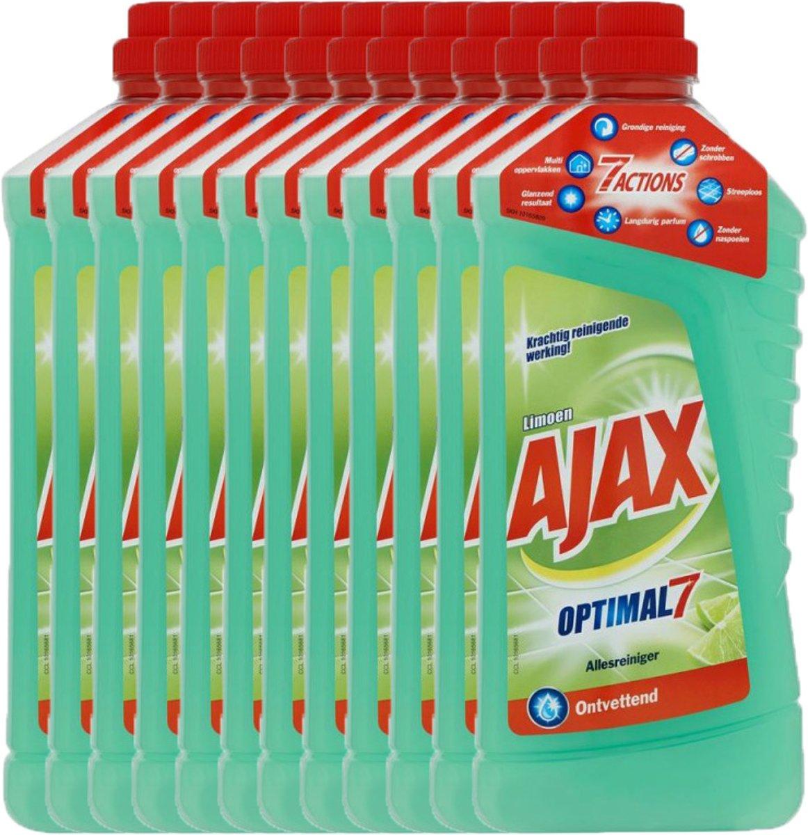 Ajax Allesreiniger - Limoen - 12 x 1,25l - Voordeelverpakking