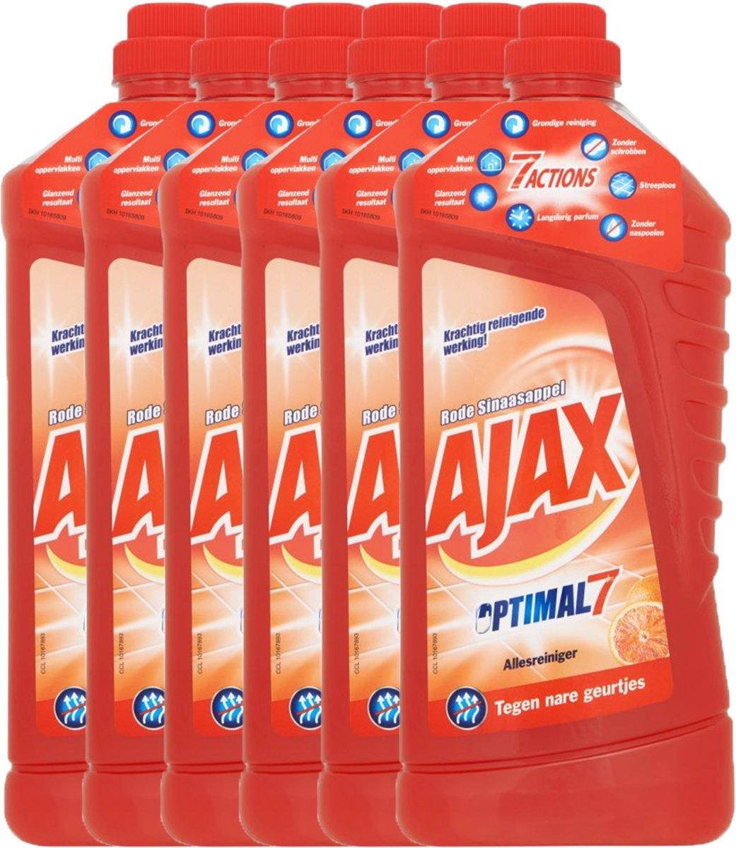 Ajax Allesreiniger Rode Sinaasappel Optimal7  - 6 x 1,25l - Voordeelverpakking