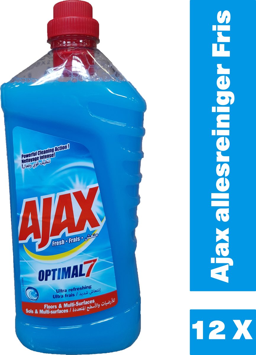 Ajax allesreiniger Fris Ultra refreshing - 12 x 1,25L - voordeelverpakking