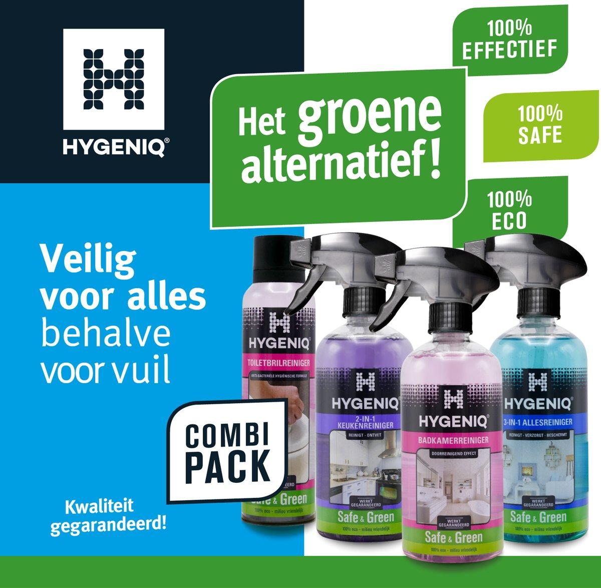 HYGENIQ? Groene algemene huishoud schoonmaakmiddelen - Badkamerreiniger - 3-in-1 allesreiniger - 2-in-1 keukenreiniger - toiletbrilreiniger