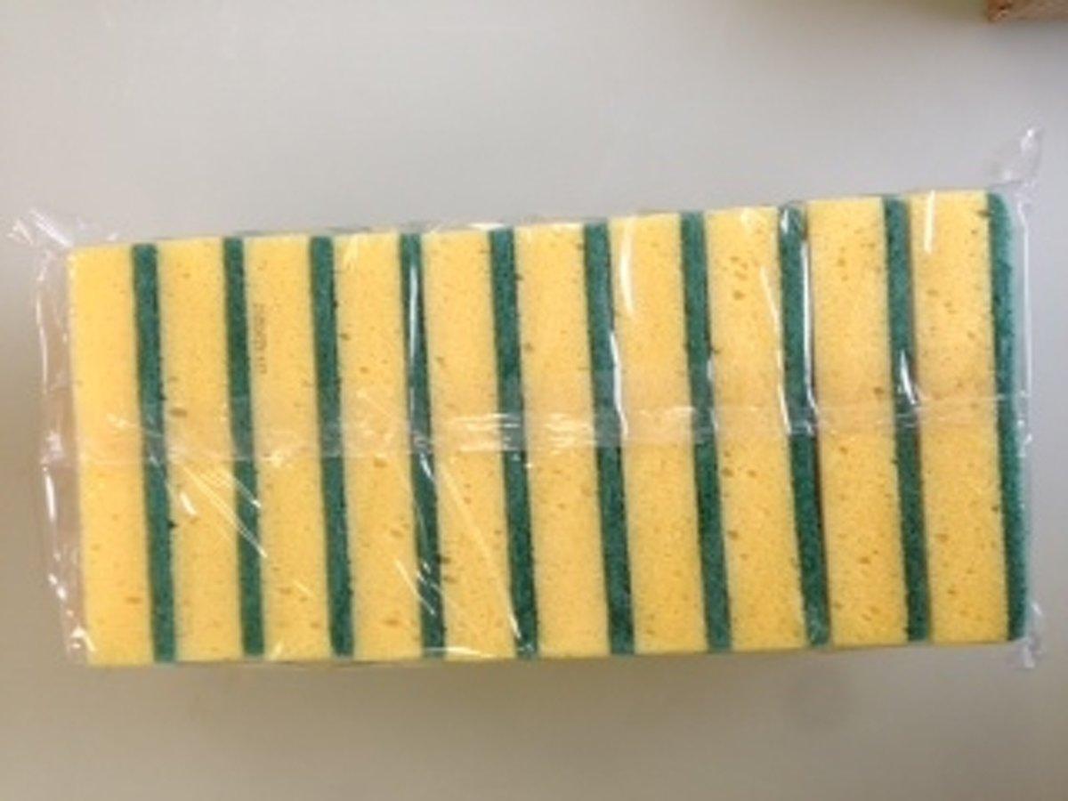 Schuurspons geel 14x10x3cm set/10