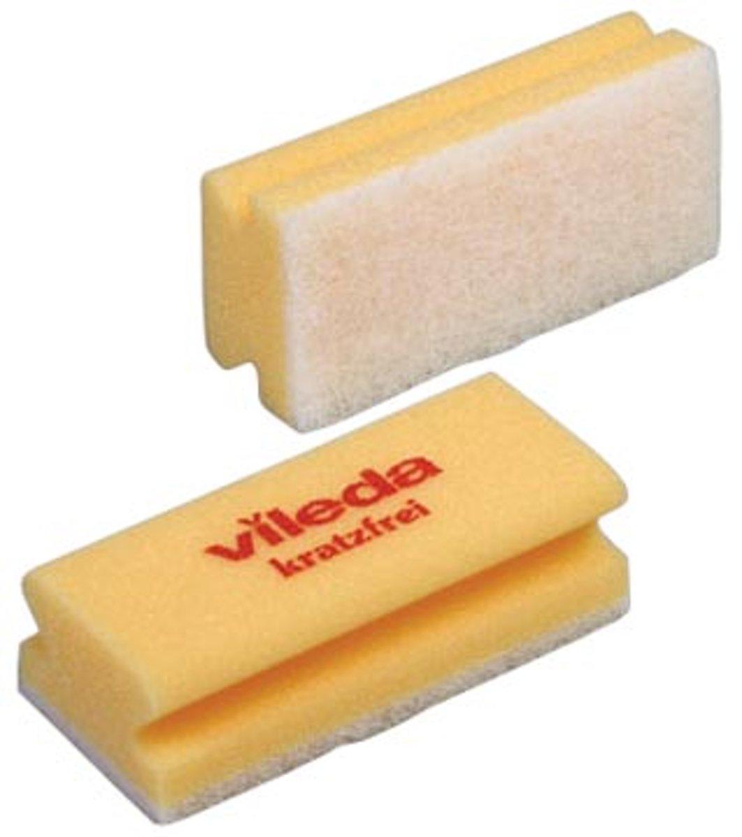 Vileda spons Glitzi Quattro geel pak van 10 stuks