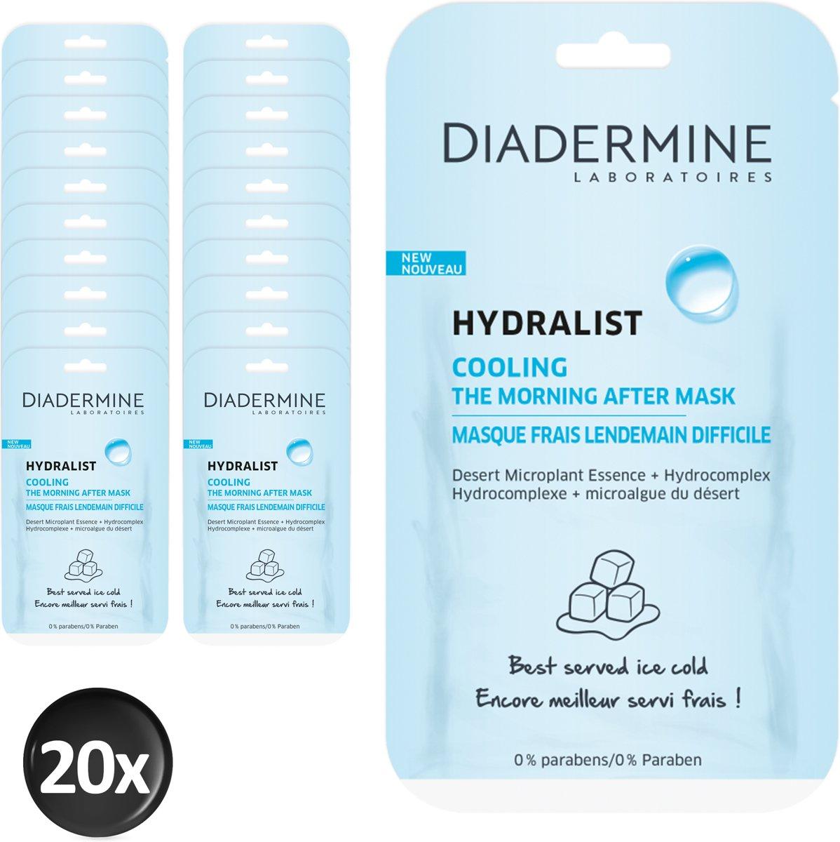 Diadermine Hydralist Cooling Gezichtsmasker 8 ml - 20 stuks - Voordeelverpakking
