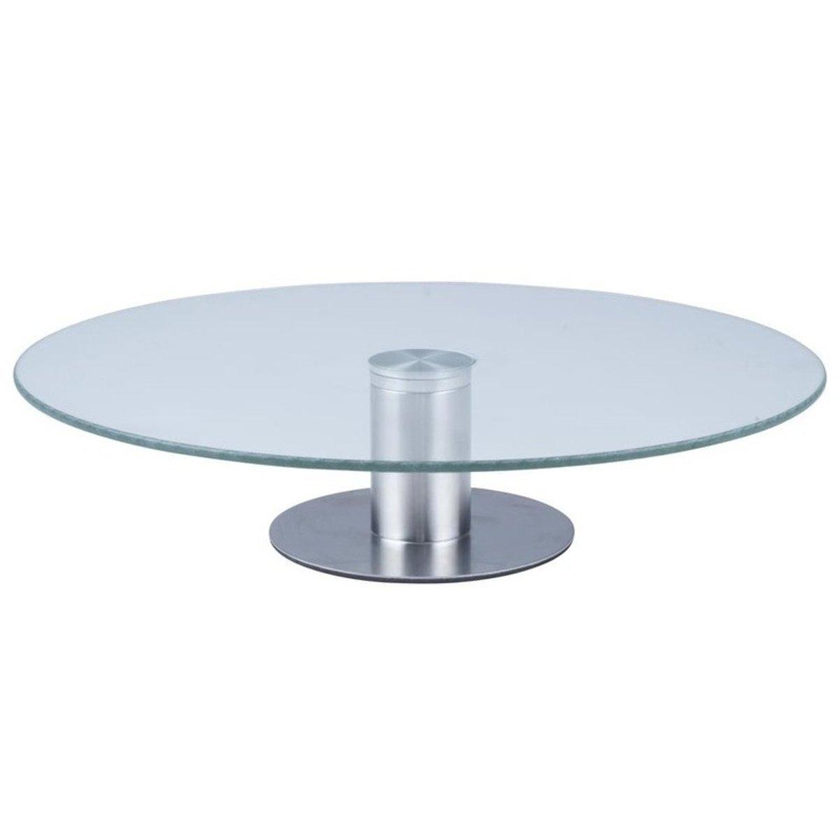Glazen taartplateau met RVS voet - 30 x 7 cm - taartserveerschaal / standaard
