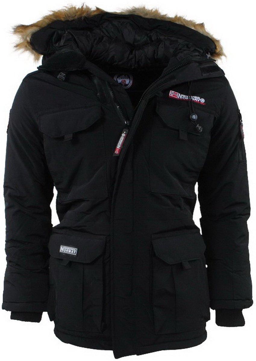 Geographical Norway - Heren Winterjas - Faux Fur Bontkraag - Bottle - Zwart