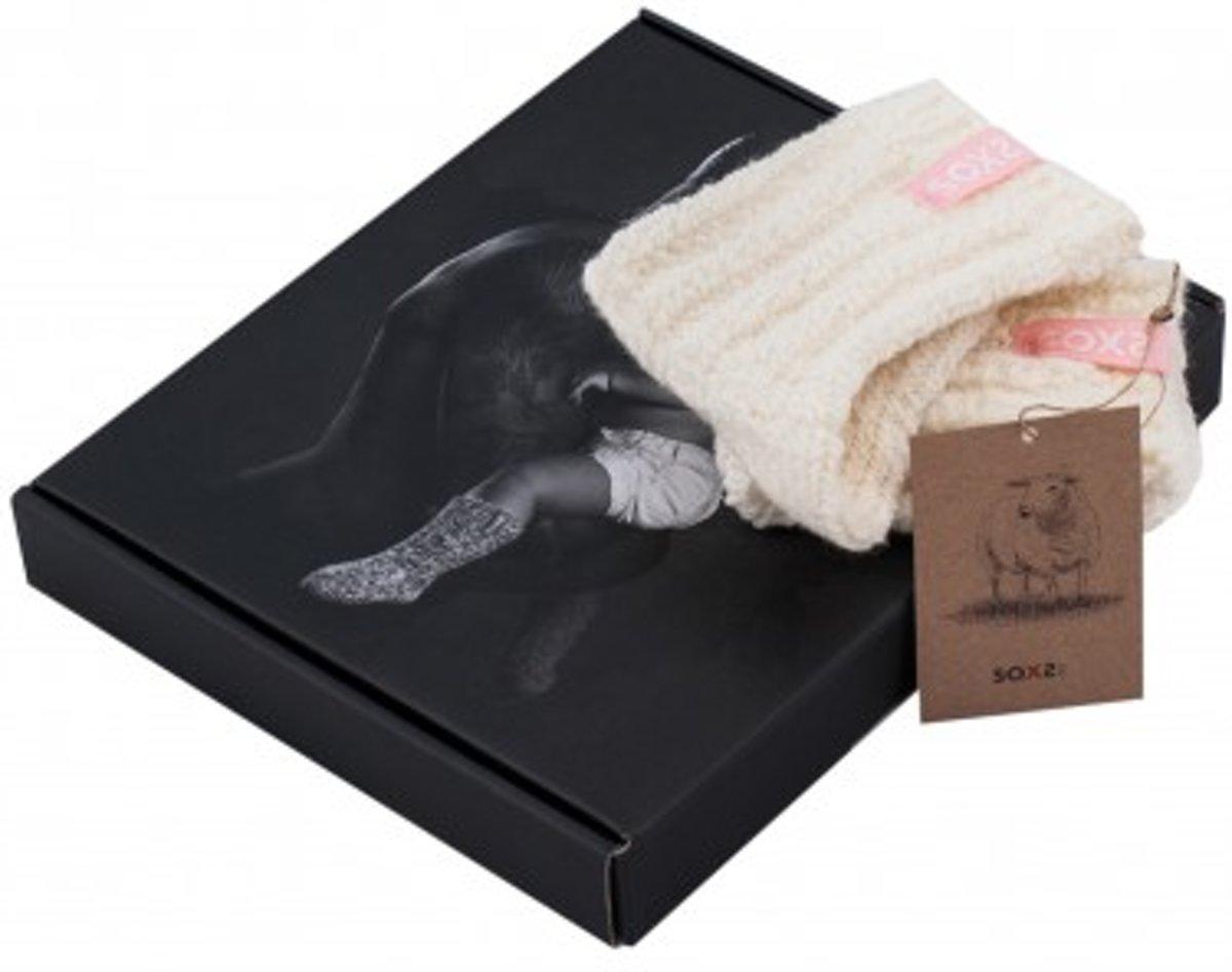 SOXS Wollen baby-/peutersokken roze en ecru anti slip - maat 19 t/m 28