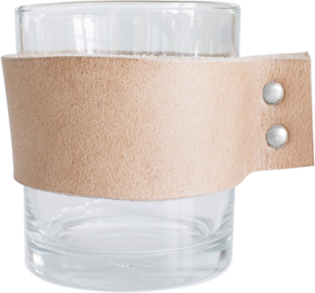 TAK Design Drinkglas Wrap Me - Incl. Lederen Band - Glas - ?8 x 9 cm - Bruin
