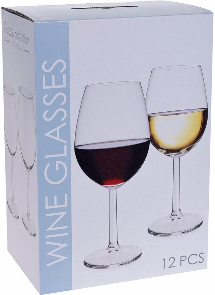 Wijnglazen set rode en witte wijn 12 stuks