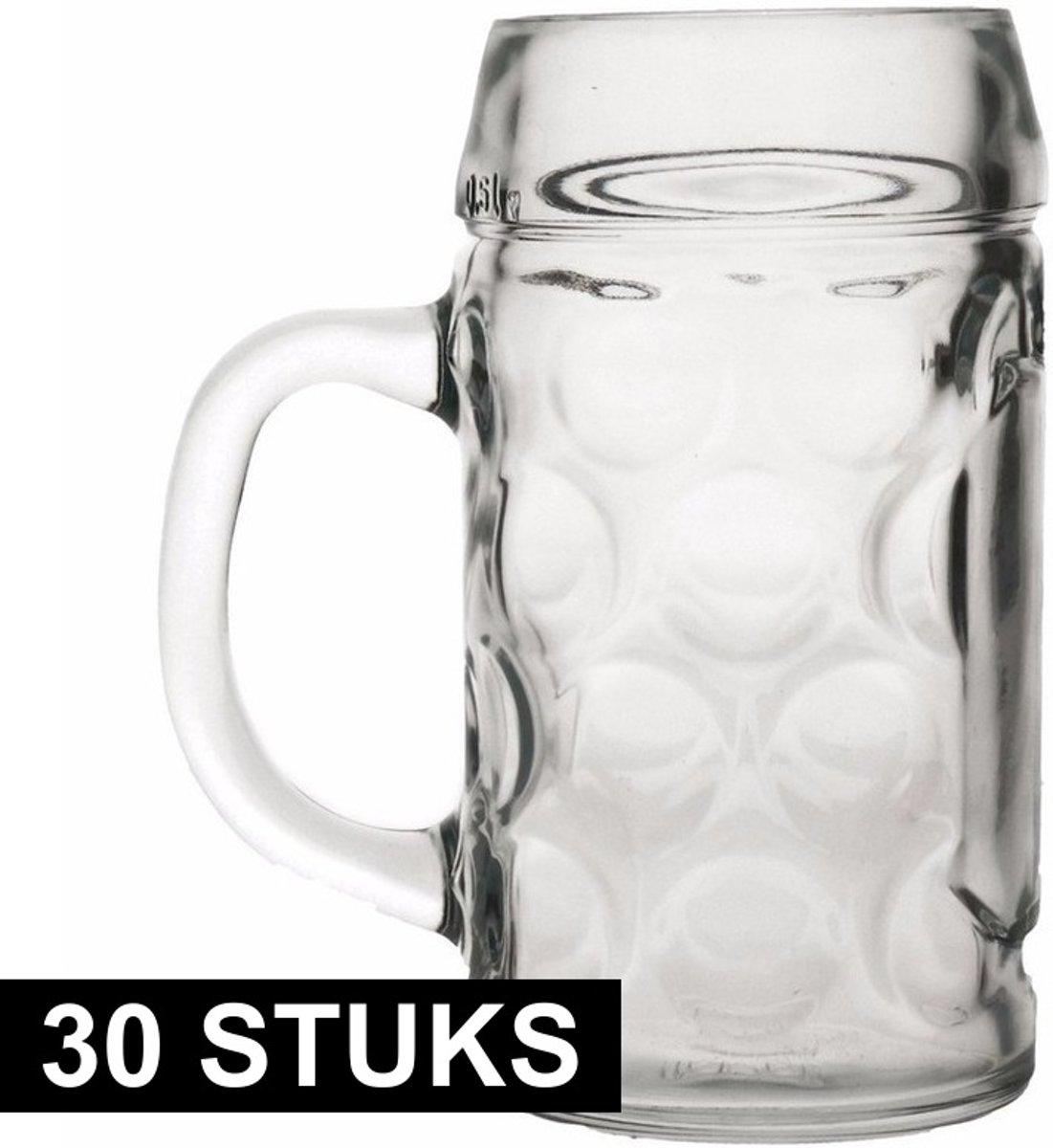 Oktoberfest - 30x Bierpullen/Bierglazen van 1 liter Oktoberfest bierglazen - Bierfeest bierglas 30 stuks
