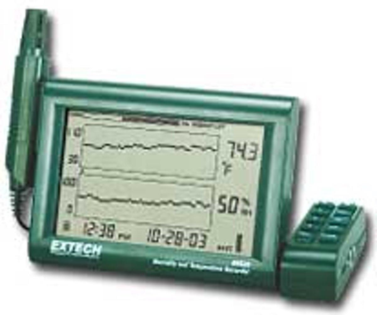 Extech RH520A-220: Vochtigheids- en temperatuurmeter met grafiekdisplay en afneembare probe
