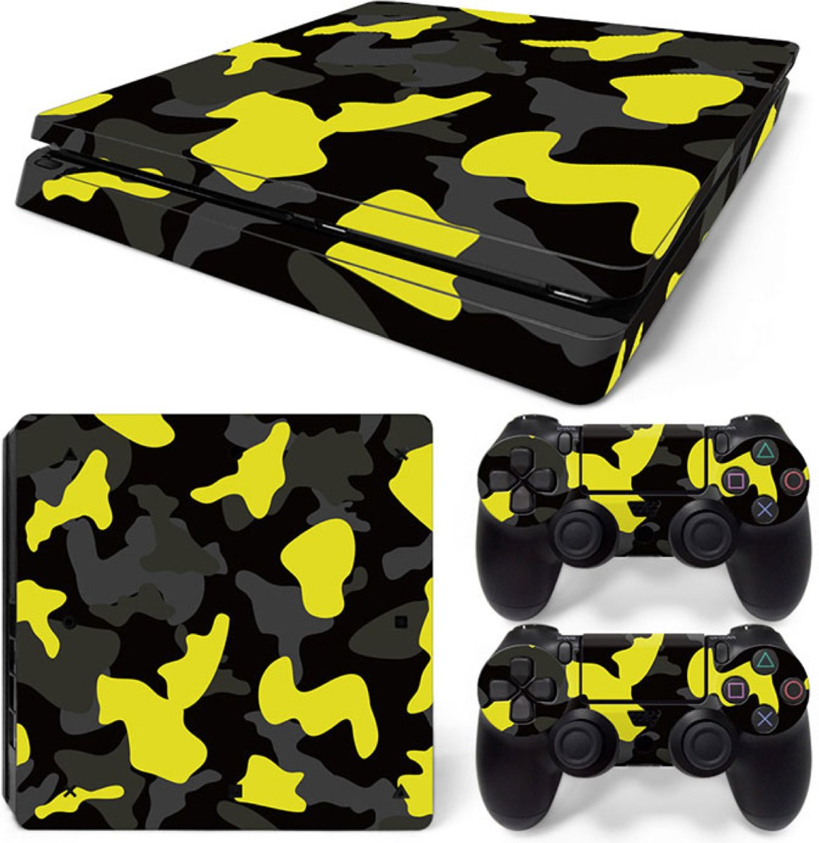 Army Camo / Geel Zwart - PS4 Slim Console Skins PlayStation Stickers