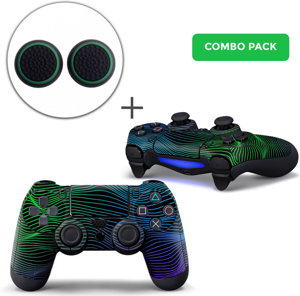Brainwaves Combo Pack - PS4 Controller Skins PlayStation Stickers + Thumb Grips