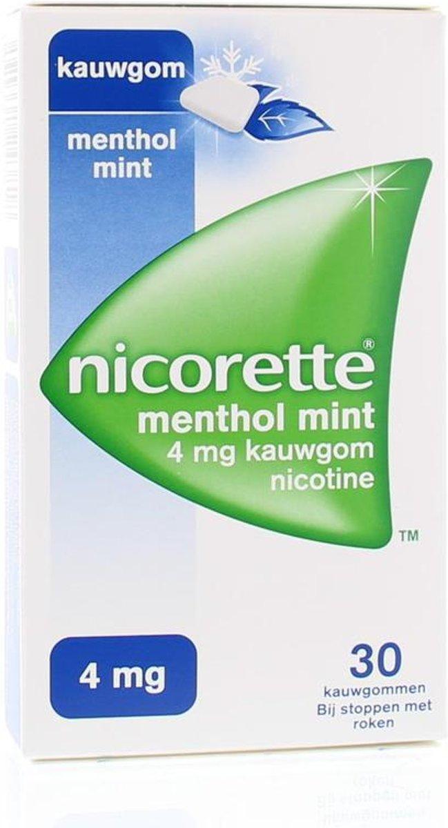 Nicorette Nicotine kauwgom menthol mint 4mg 30 stuks