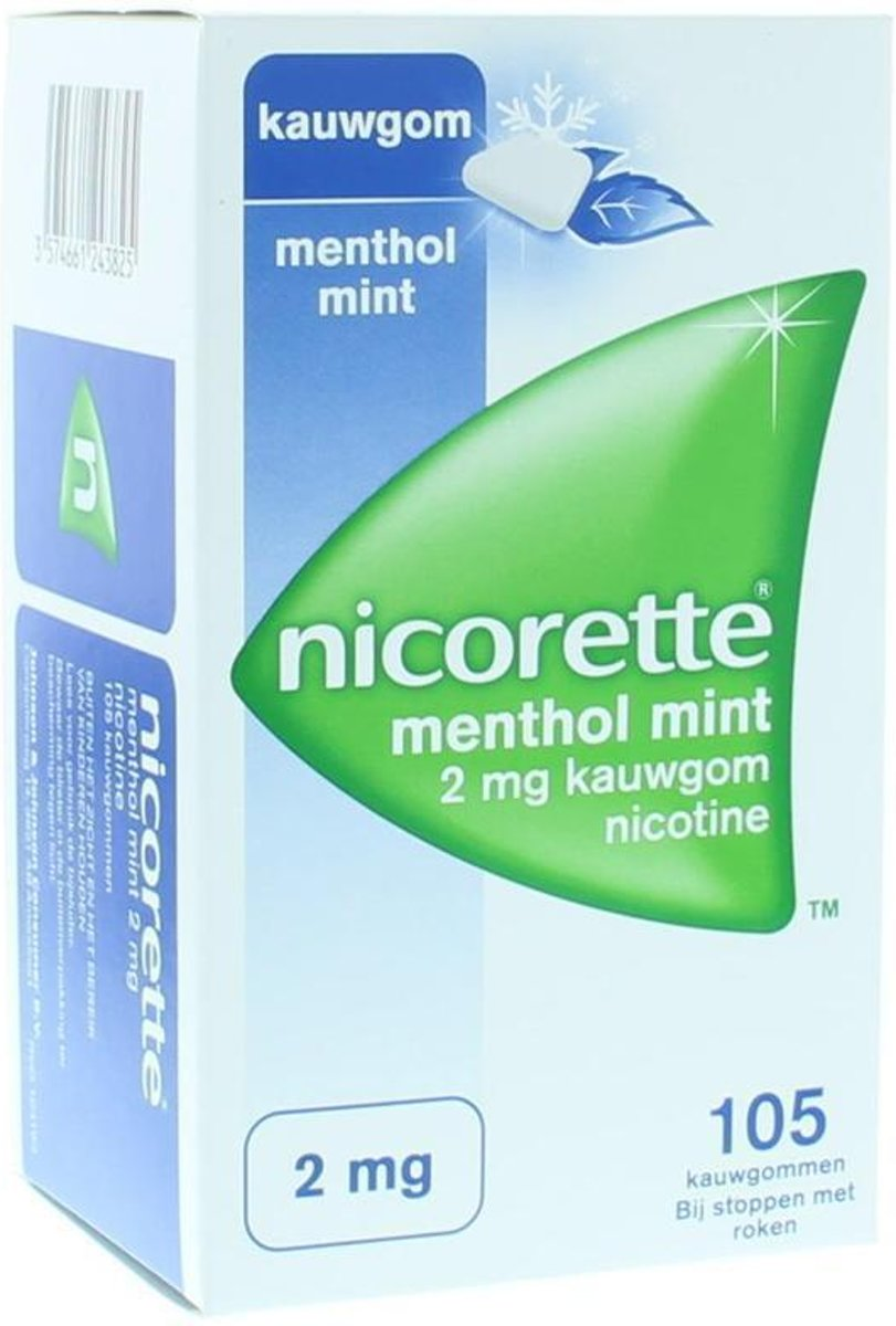 Nicorette Nicotine kauwgom menthol mint 2mg
