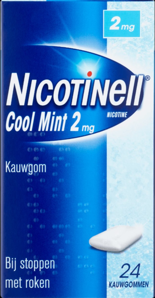 Nicotinell cool mint 2 mg kauwgom - stoppen met roken - 24 stuks
