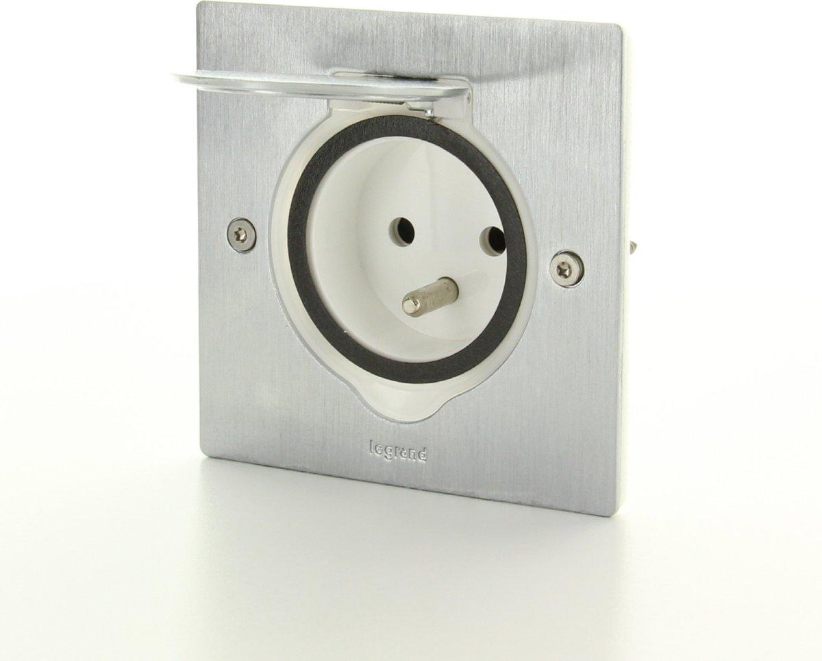 LEGRAND vloer/wand stopcontact - 1V - IP44 - slagvast - RVS