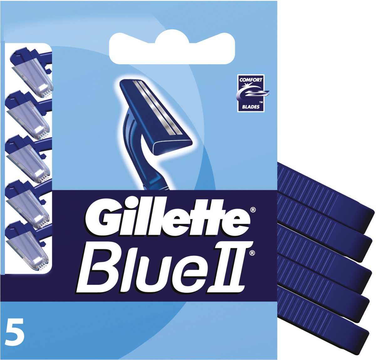 Gillette Blue II Long Handle Wegwerp Scheermesjes Met Dubbel Mes 5st