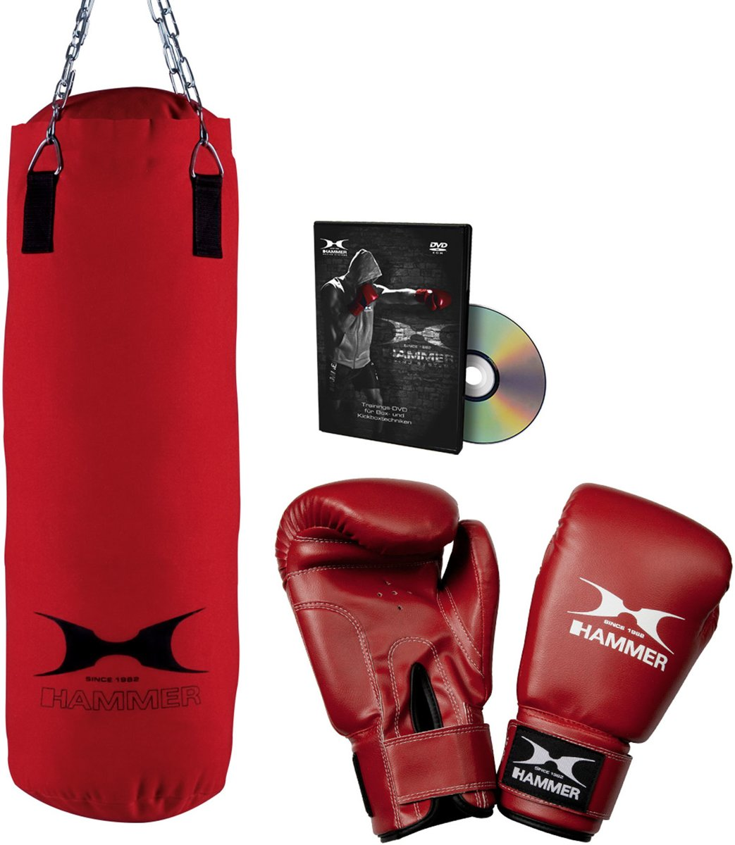 Hammer Boxing Set FIT - Bokszak 60 cm met Bokshandschoenen 10 oz nylon en DvD