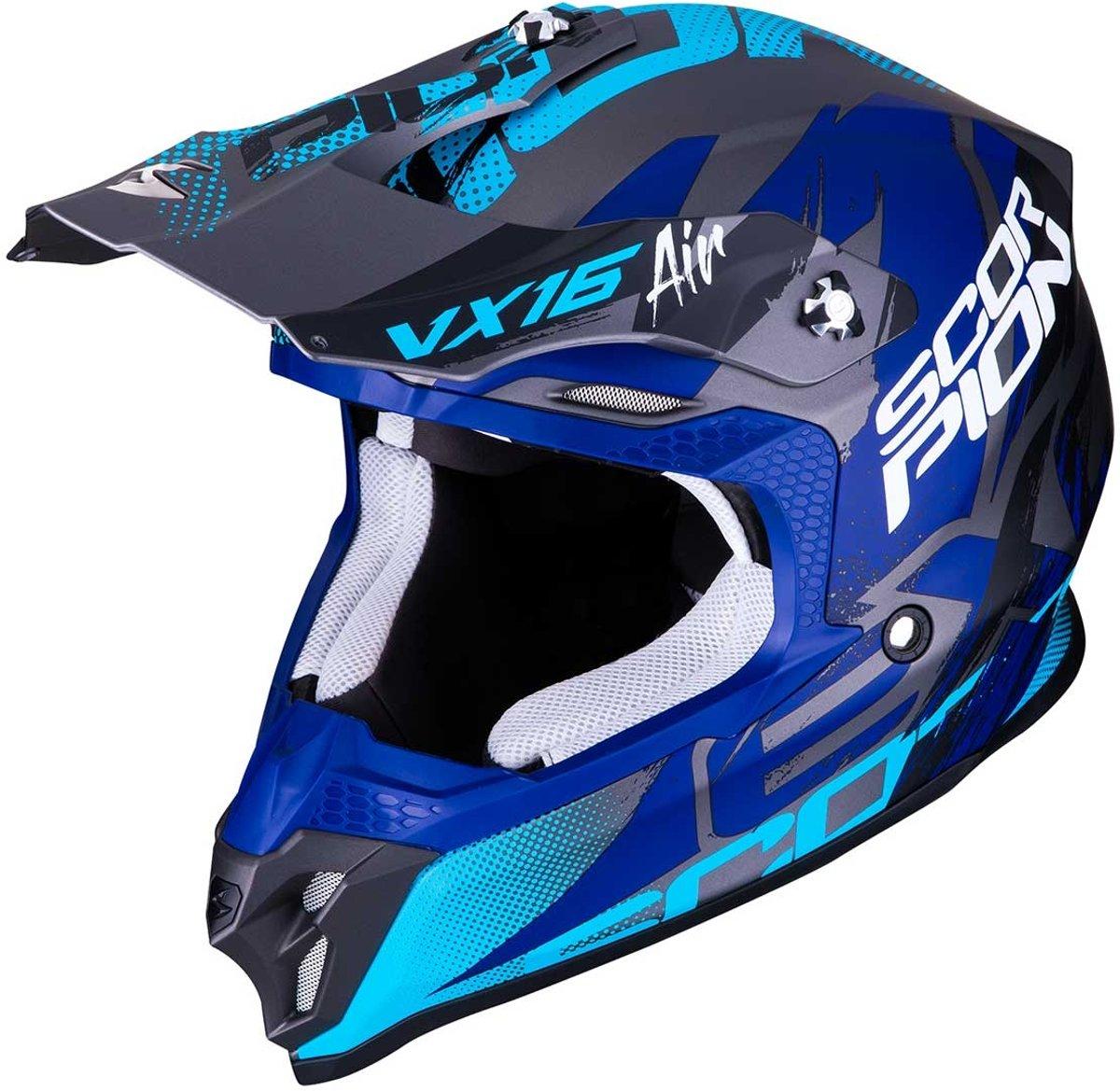 Scorpion Crosshelm VX-16 Albion Matt Silver/Blue-M