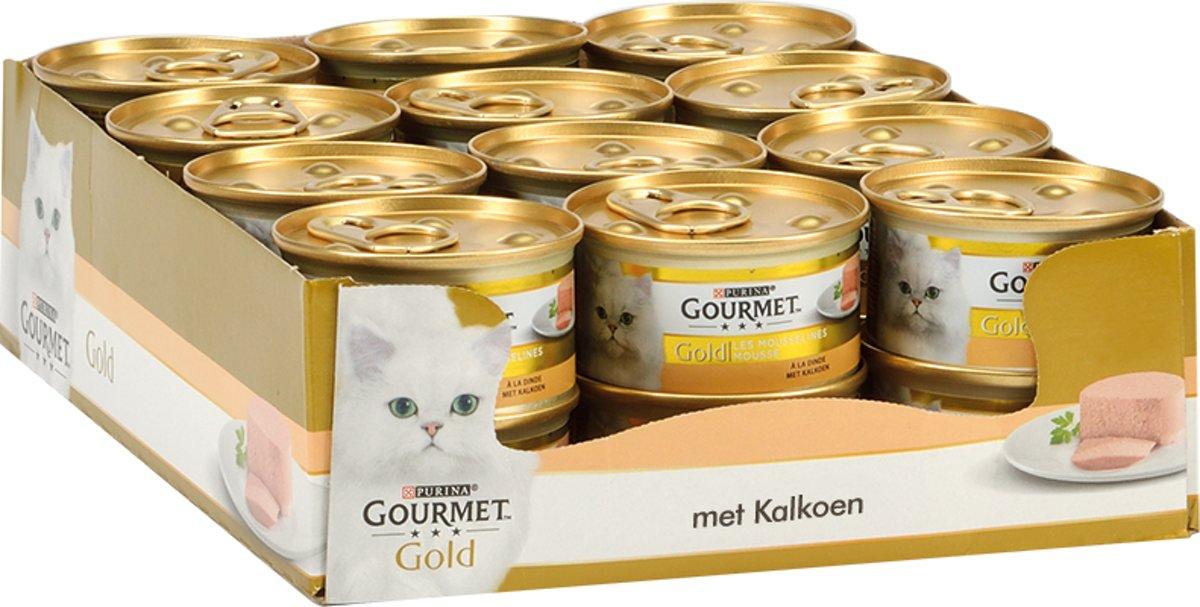 Gourmet Gold Mousse - Kalkoen - Kattenvoer - 24 x 85 g