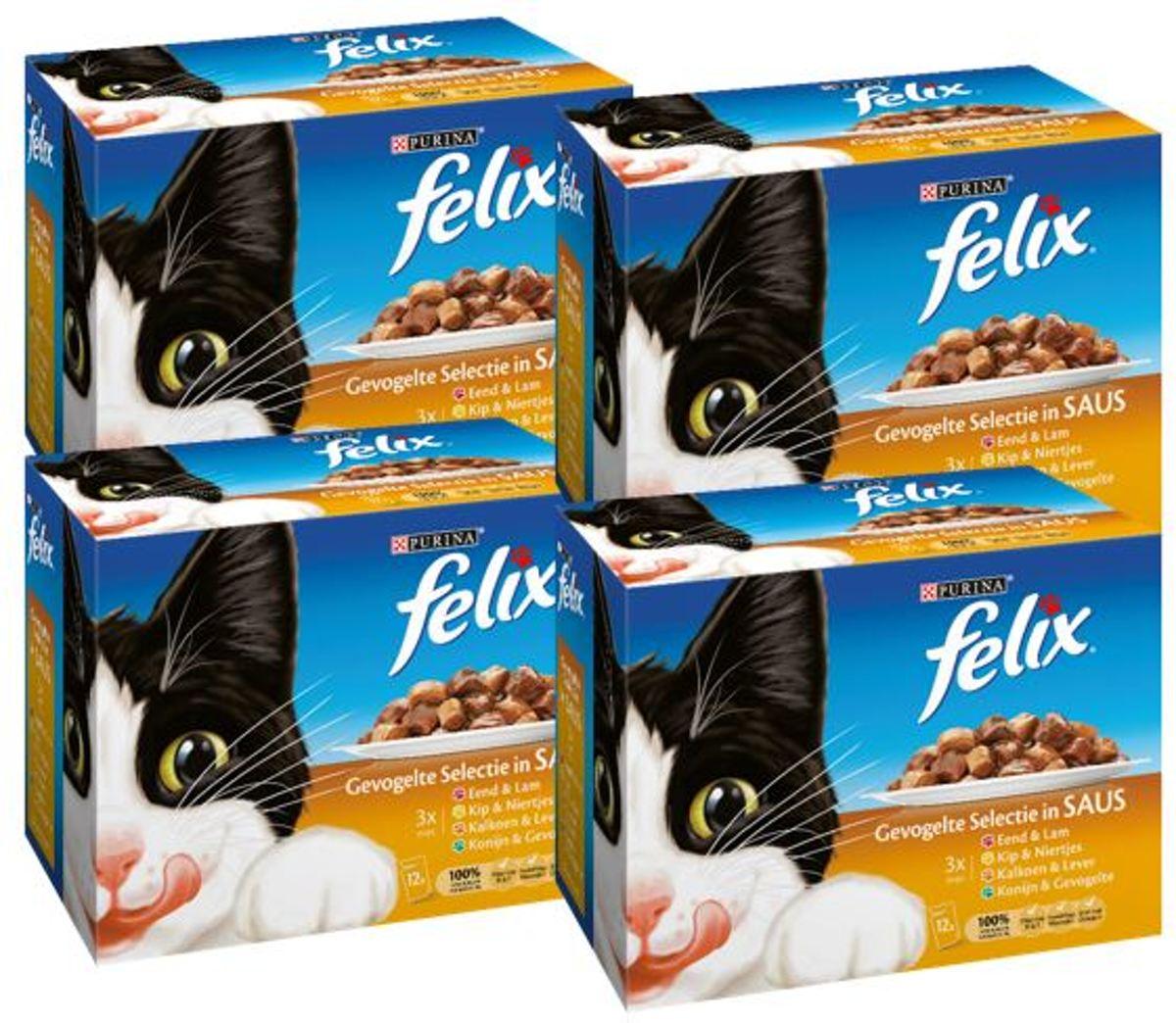FELIX Gevogelte In Saus - Kattenvoer - 4 x ( 12 x 100) g