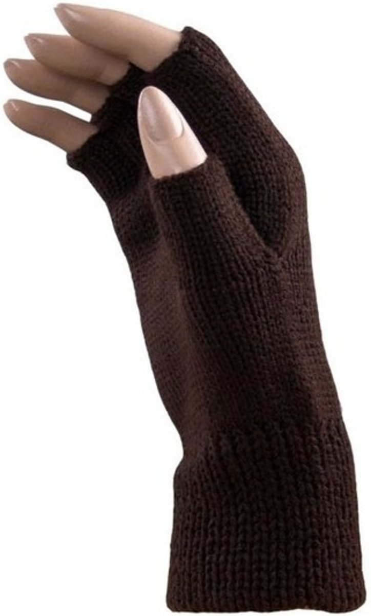 Vingerloze winter handschoenen bruin voor volwassenen