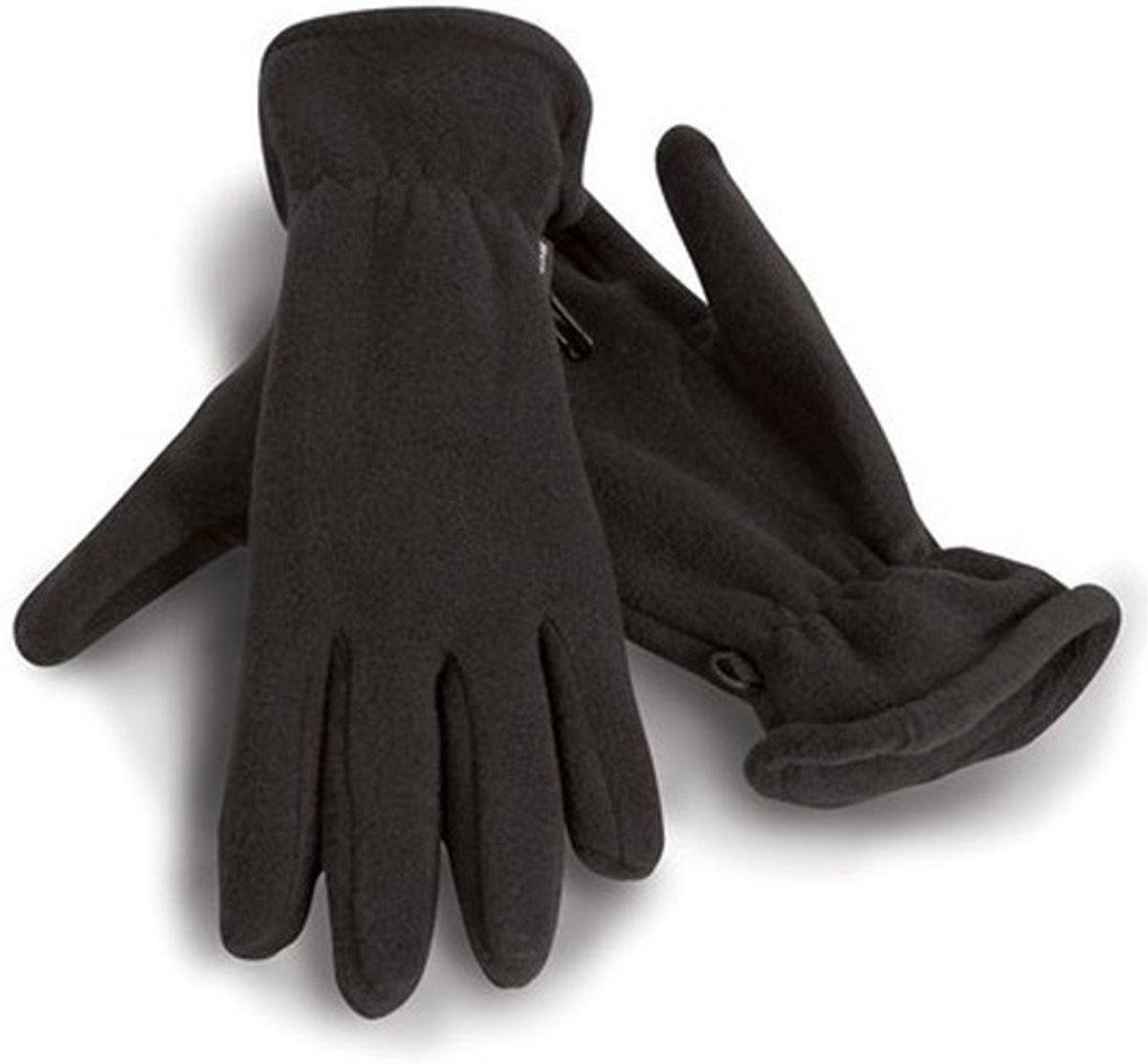 Zwarte warme fleece handschoenen voor volwassenen M