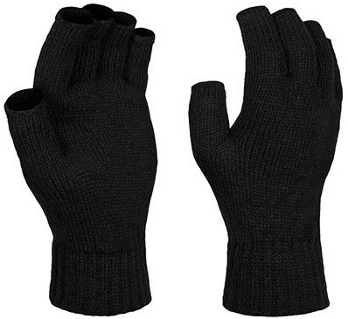 Vingerloze gebreide handschoenen zwart voor volwassenen