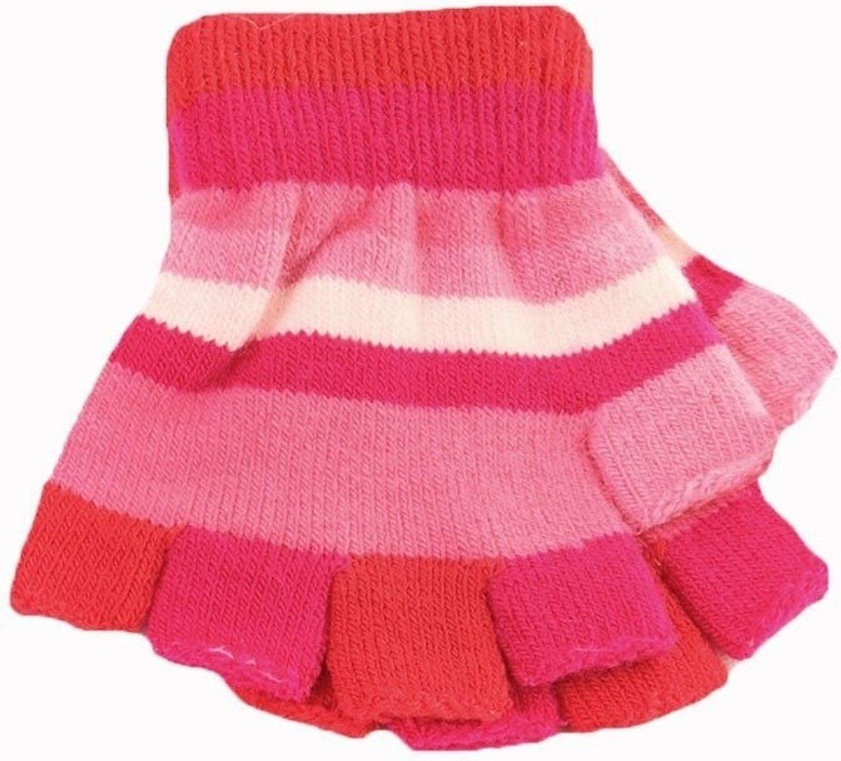 Vingerloze handschoenen met roze streepjes voor meisjes