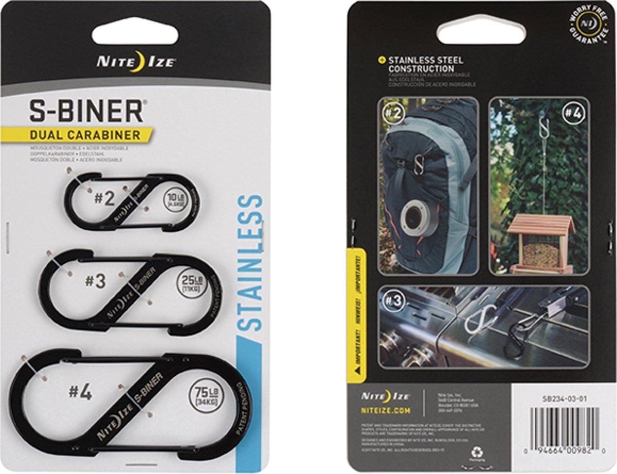 NITE IZE S-Biner - 3 pack Black
