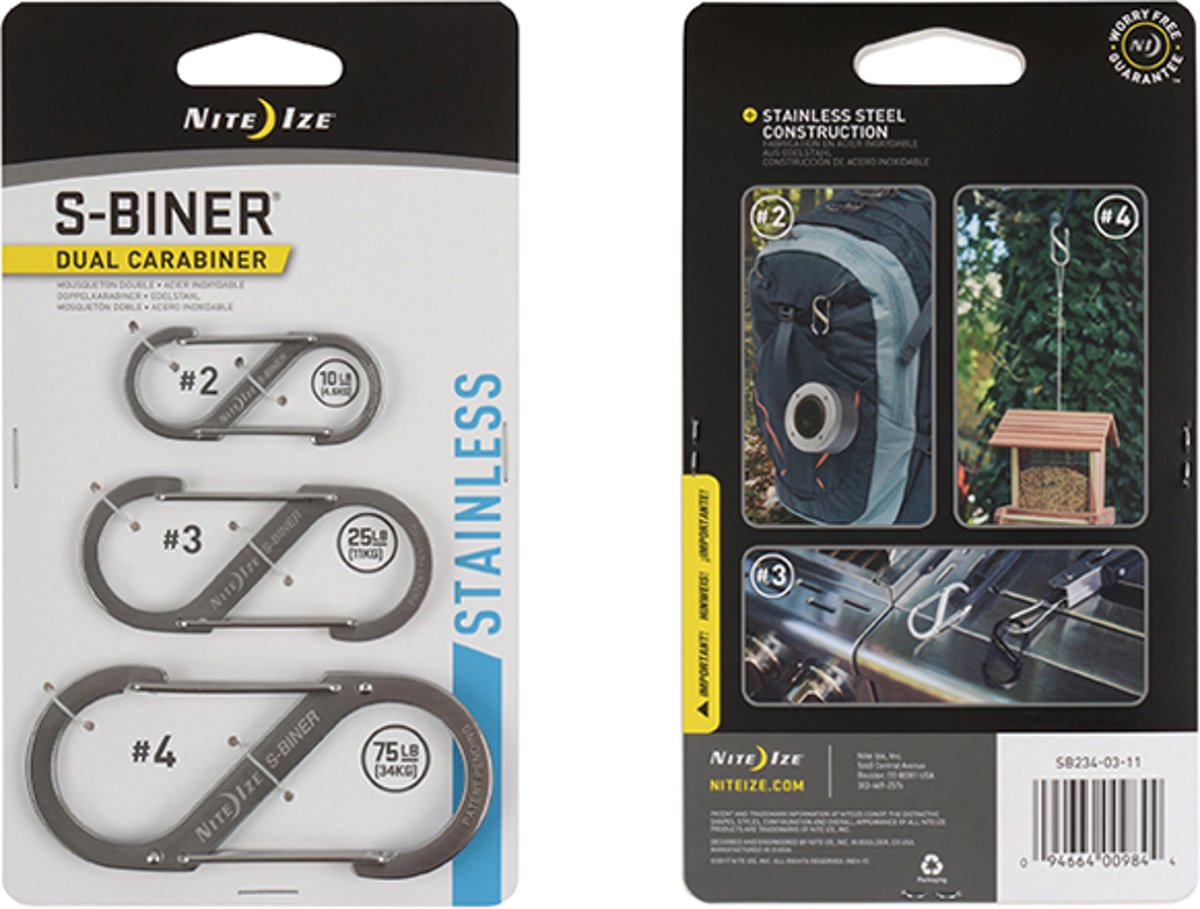NITE IZE S-Biner - 3 pack Stainless
