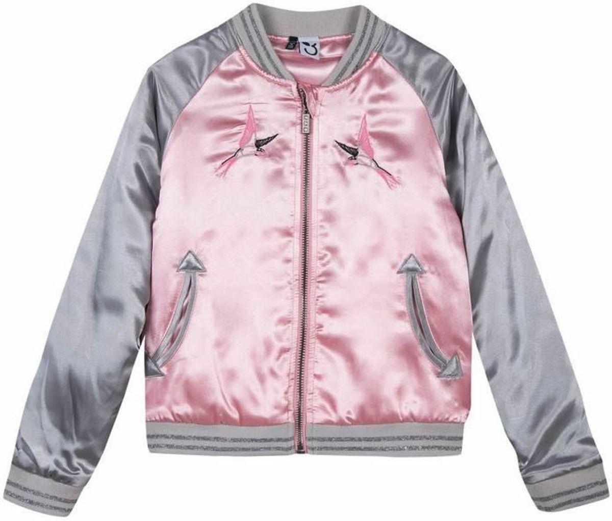 3pommes Meisjes Jack Street Fashion Bomberjack geborduurd Roze Grijs (4-6Y) - Maat 116