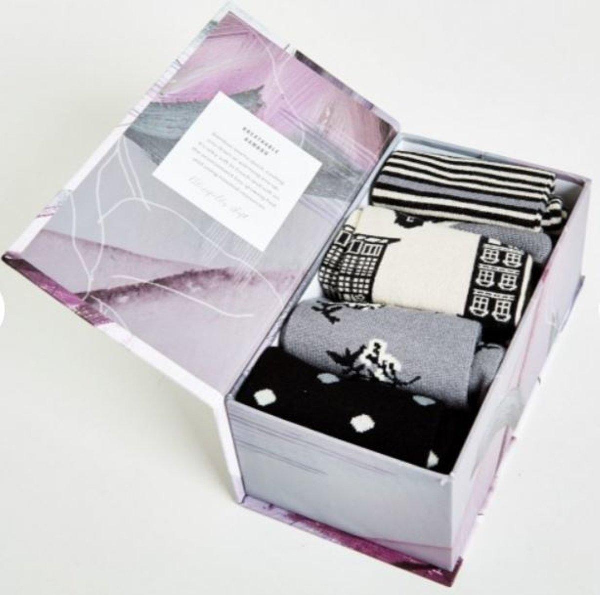 Set van 4 paar bamboe sokken Dutch Houses in luxe cadeau doos - maat 37 tot 41
