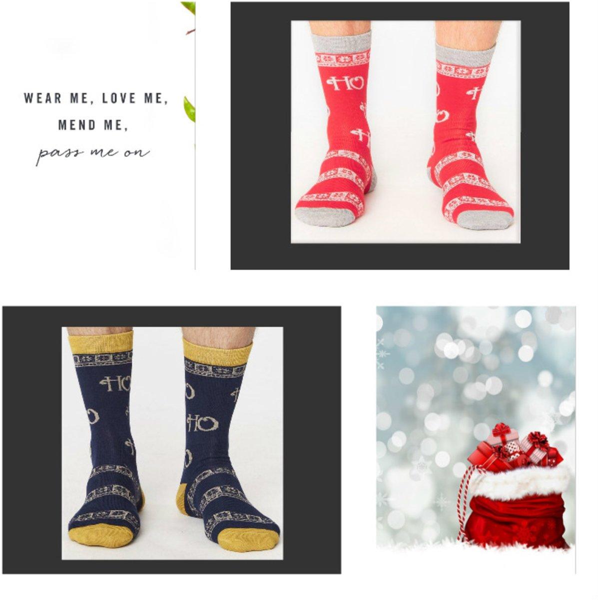 Kerstsok -Bamboe heren kerst sokken - Ho ho ho - set van 2 paar -  maat 41/46